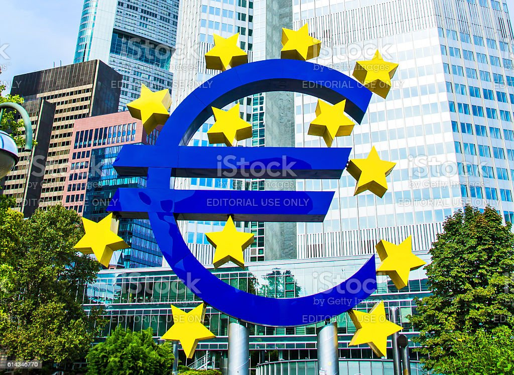 Euro Sign in front of the European Central Bank stock photo
