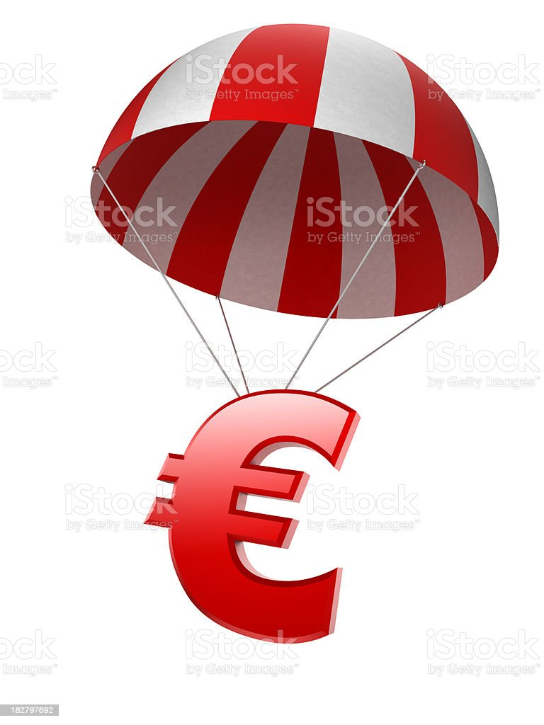 Euro sign in parachute - isolated with clipping path royalty-free stock photo