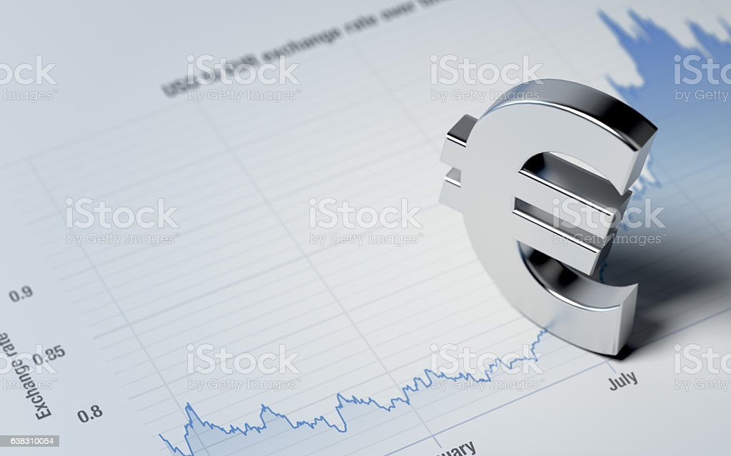 Euro Sign on A Blue Financial Graph stock photo