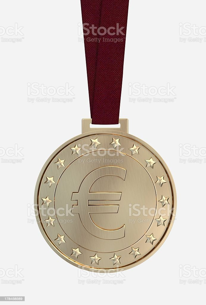 Euro sing on gold medal royalty-free stock photo