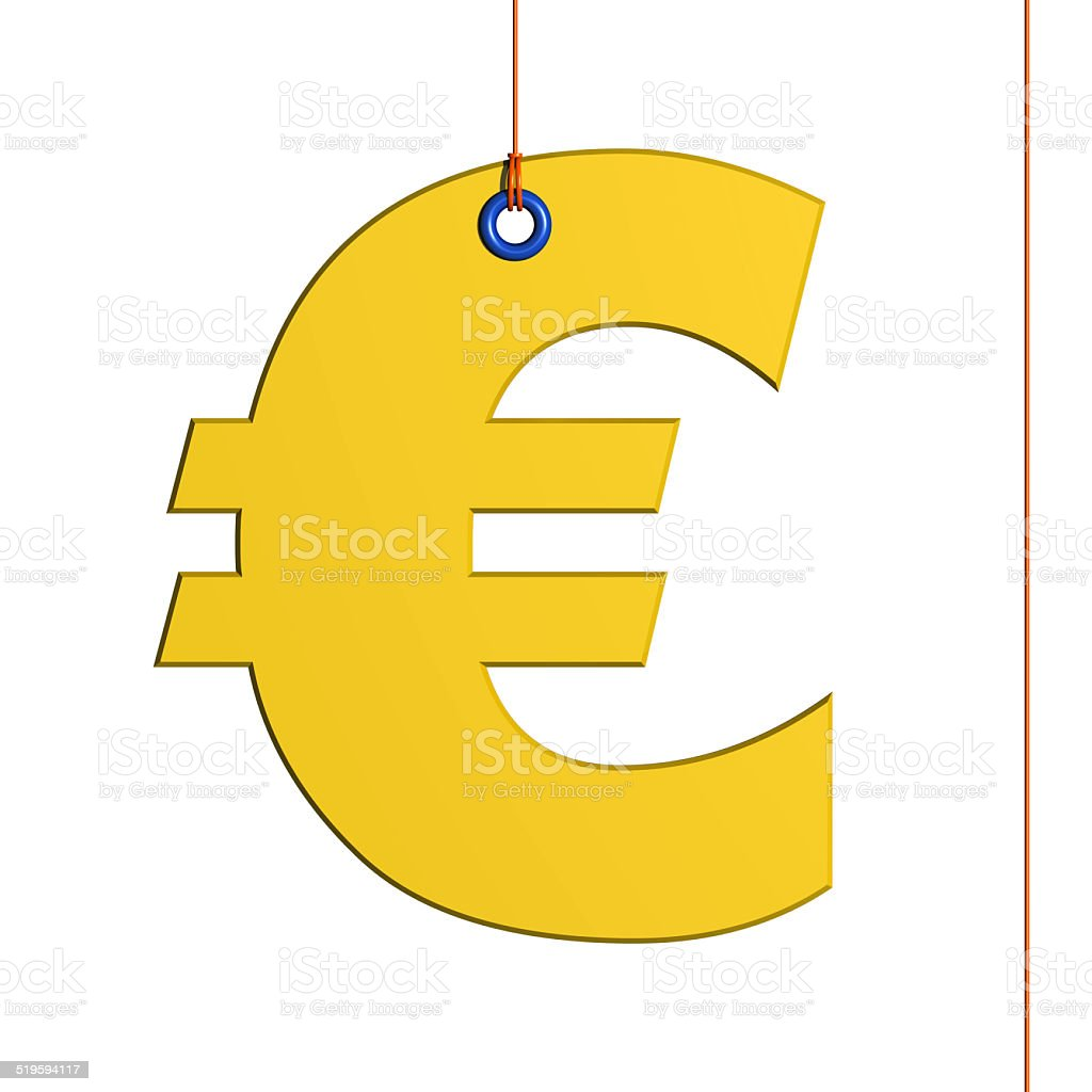Euro symbol 3D hung by a thread stock photo