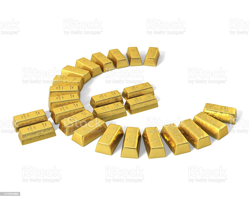 Euro symbol from gold bars, perspective. royalty-free stock vector art