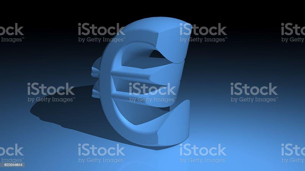 Euro symbol in blue stock photo