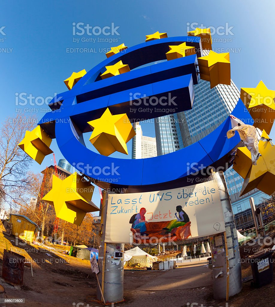 Euro symbol in front of the European Central Bank stock photo