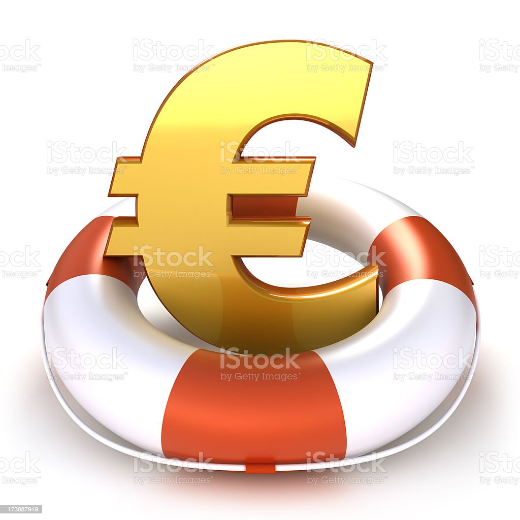 Euro symbol in lifebuoy - isolated with clipping path royalty-free stock photo