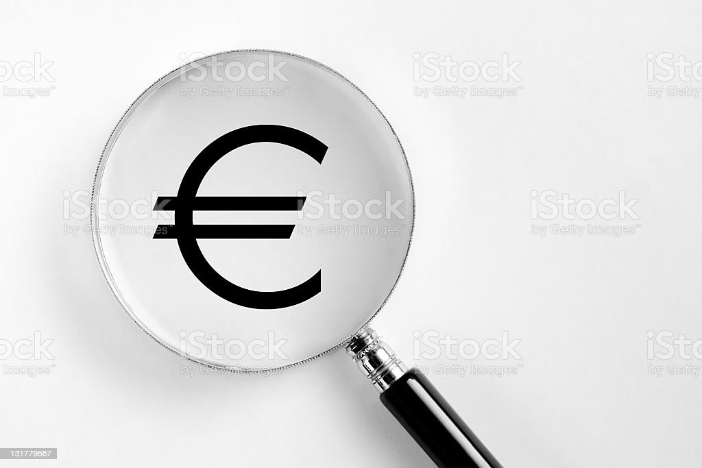 Euro symbol in the microscope royalty-free stock photo