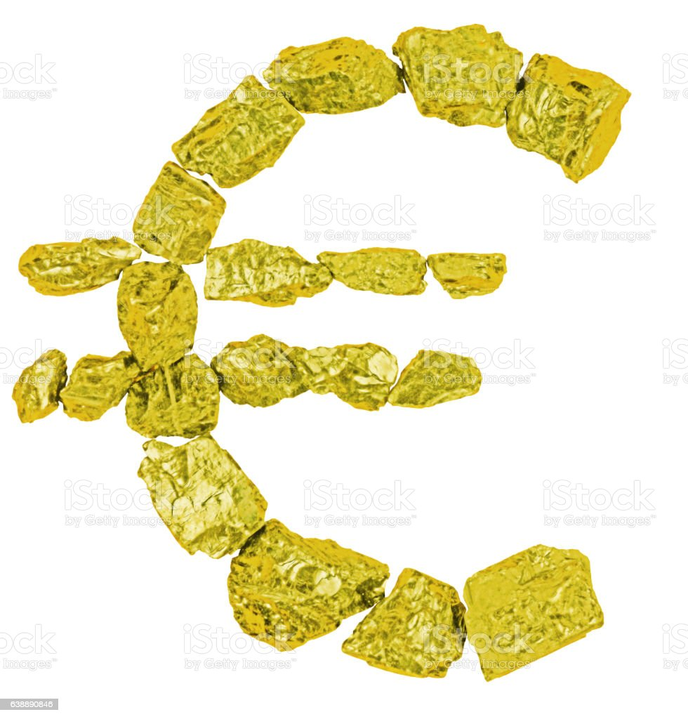 Euro symbol made from golden nuggets stock photo