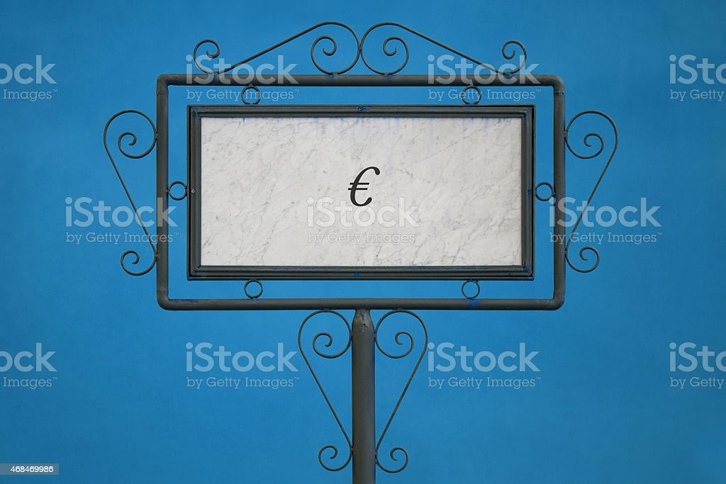 Euro Symbol On a Signboard stock photo
