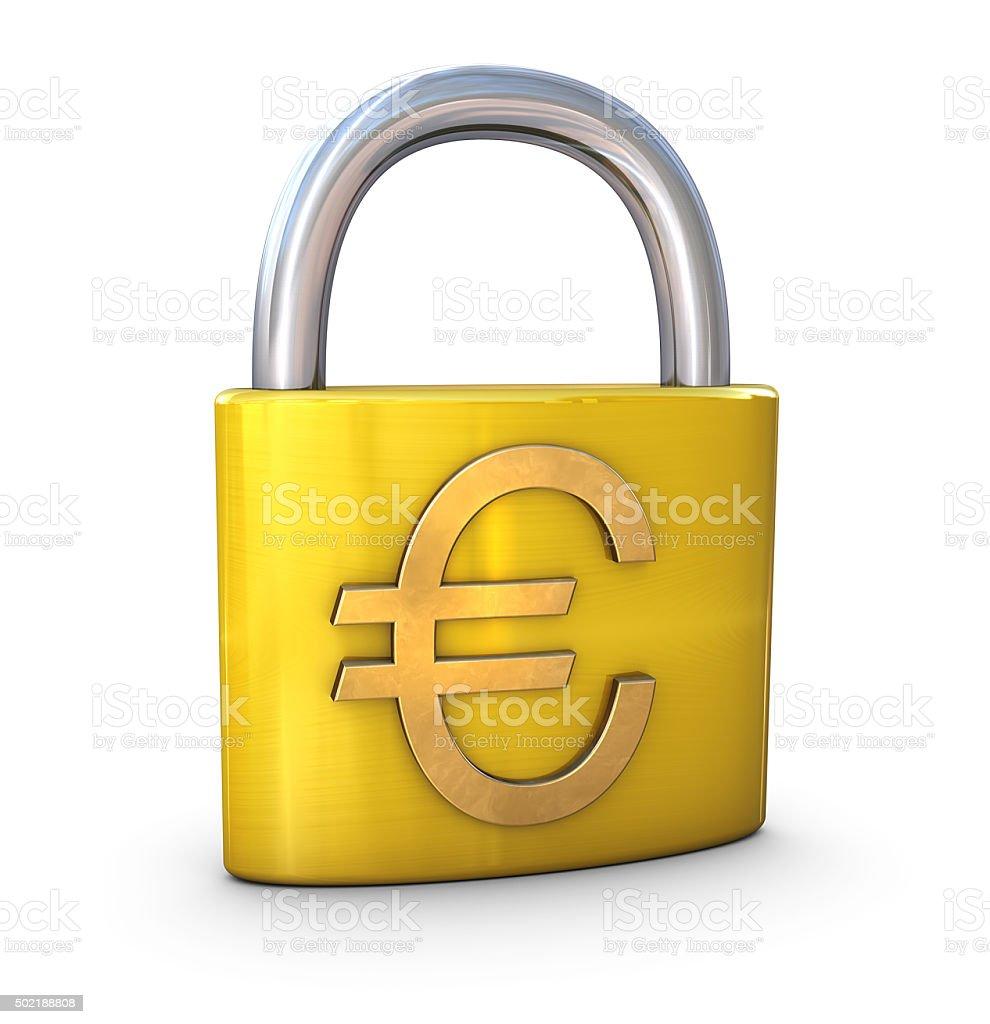 Euro Symbol on Padlock stock photo