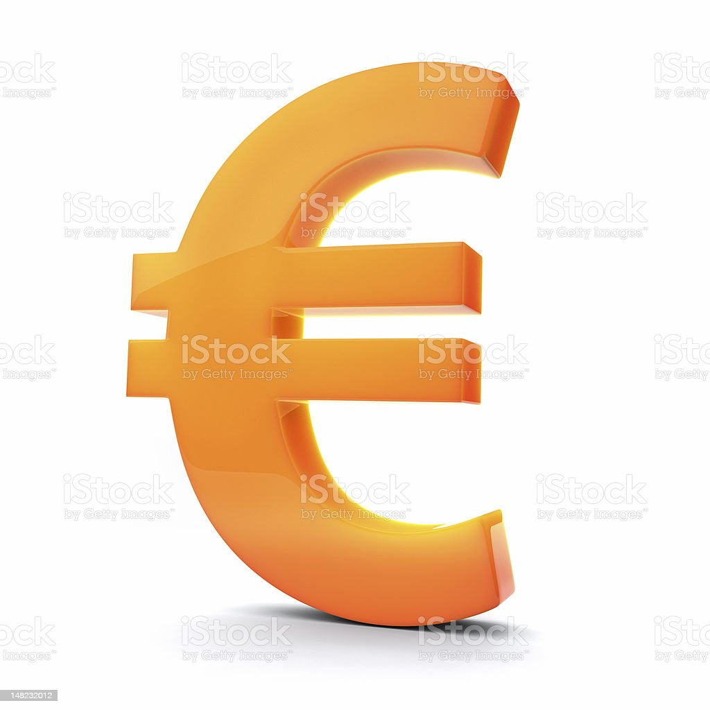 3D Euro symbol, orange tint. stock photo