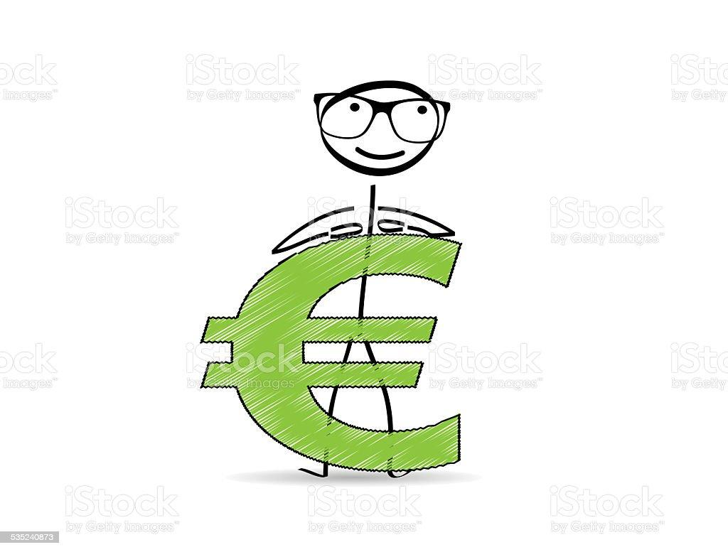 Euro Symbol / Strichmännchen / aufgestützt stock photo