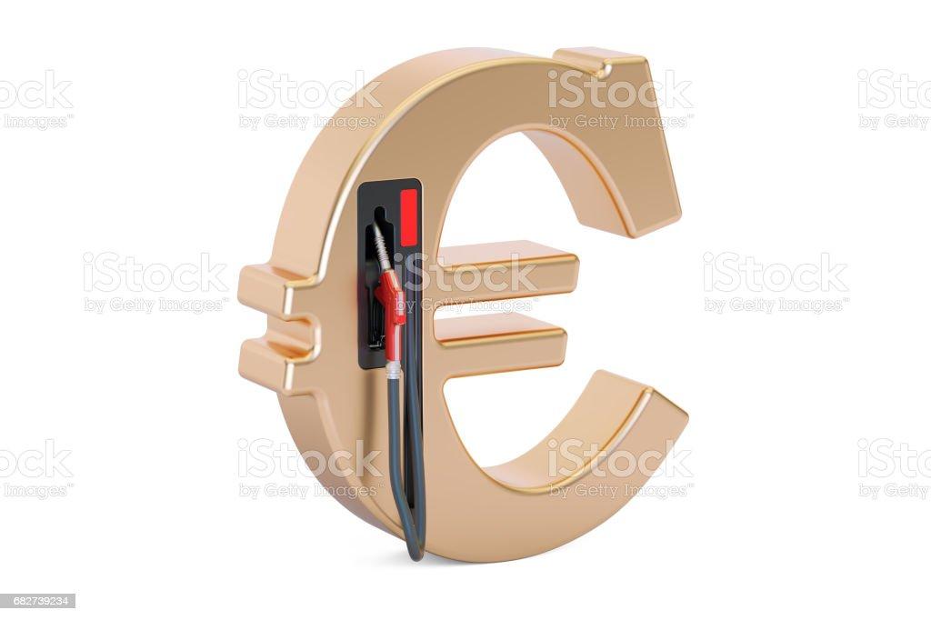 Euro symbol with fuel pump nozzle, 3D rendering stock photo