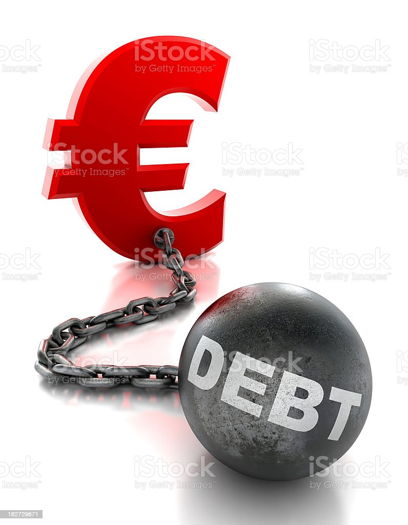 Euro tied to ball and chain of debt - isolated stock photo