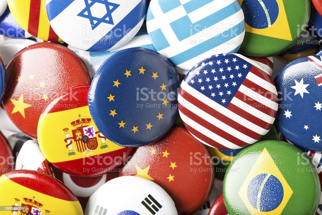 Euro USA flag pin in international collection stock photo