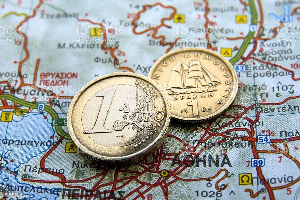 Euro vs Drahma royalty-free stock photo
