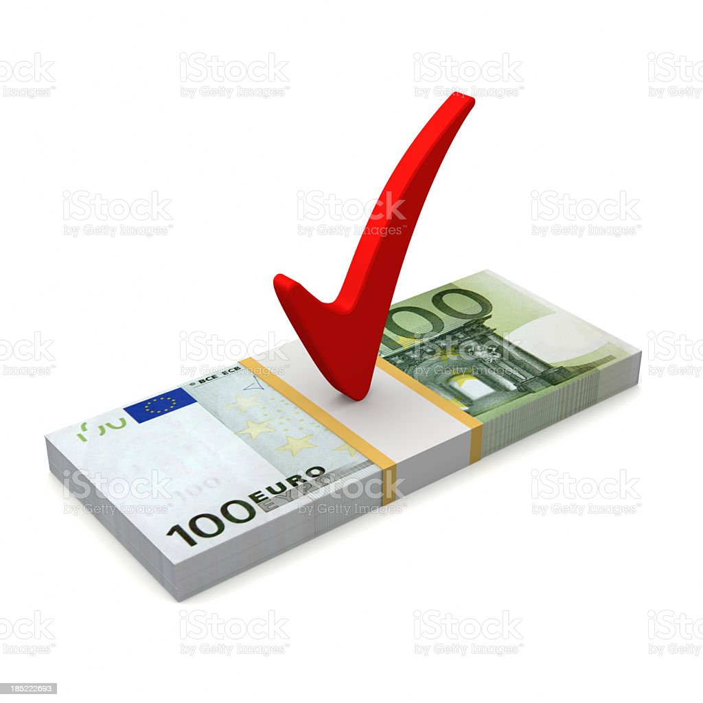 Euro with Check Marks stock photo