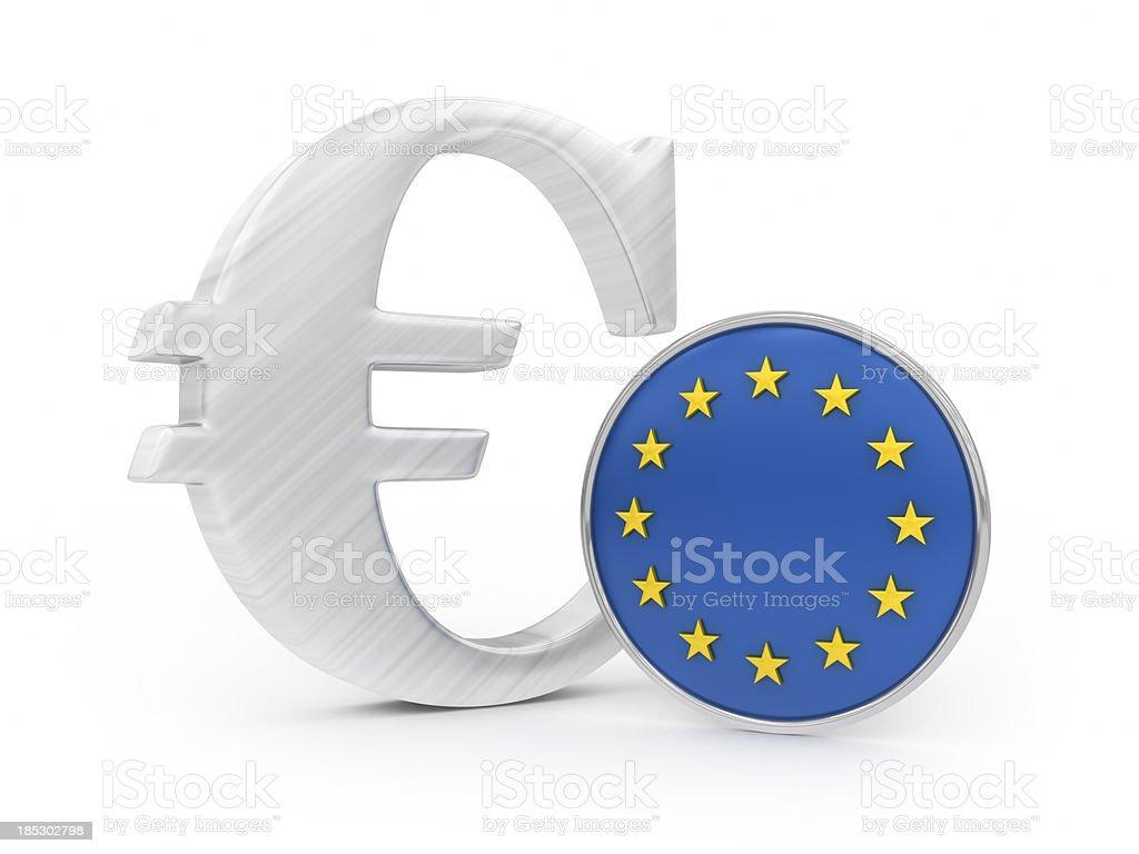 Euro with EU flag royalty-free stock photo