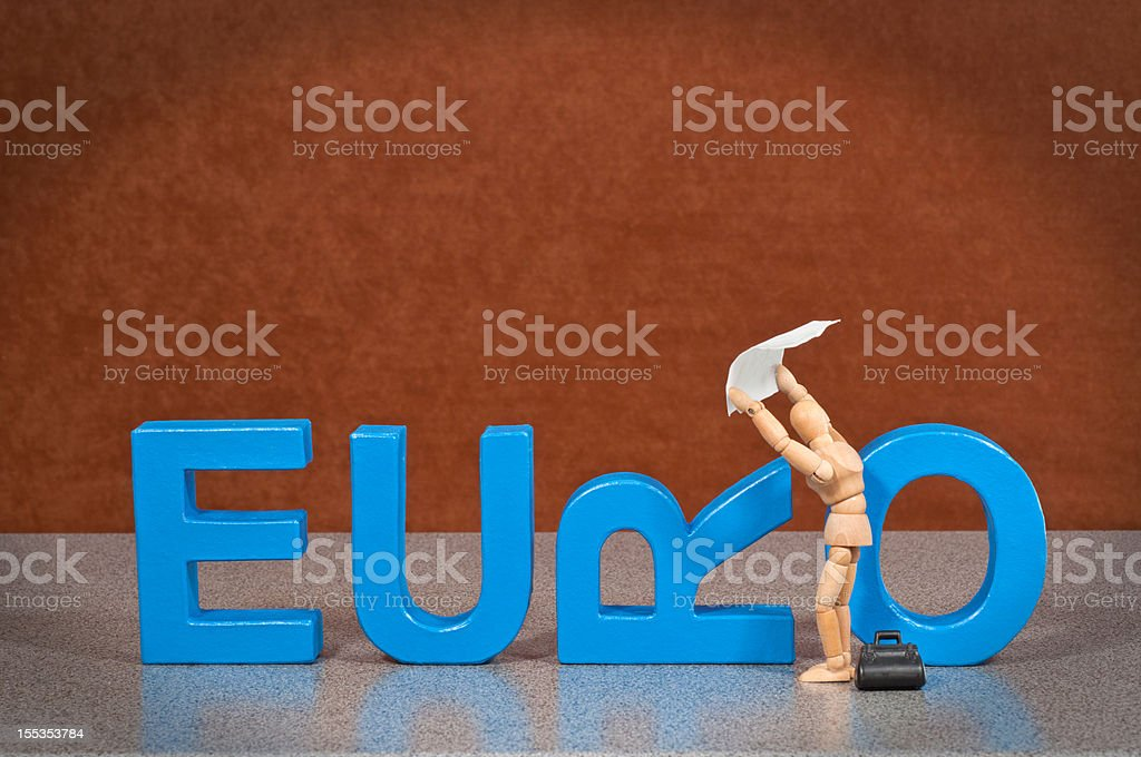 Euro - Wooden Mannequin demonstrating this word stock photo