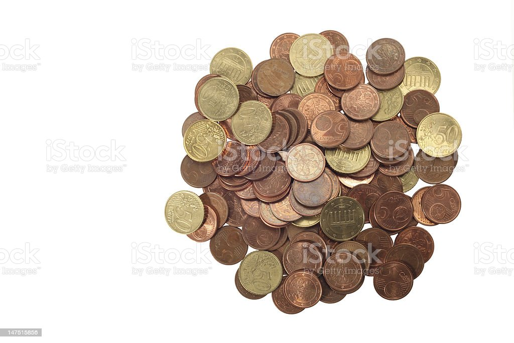 Eurocents (clipping path) stock photo