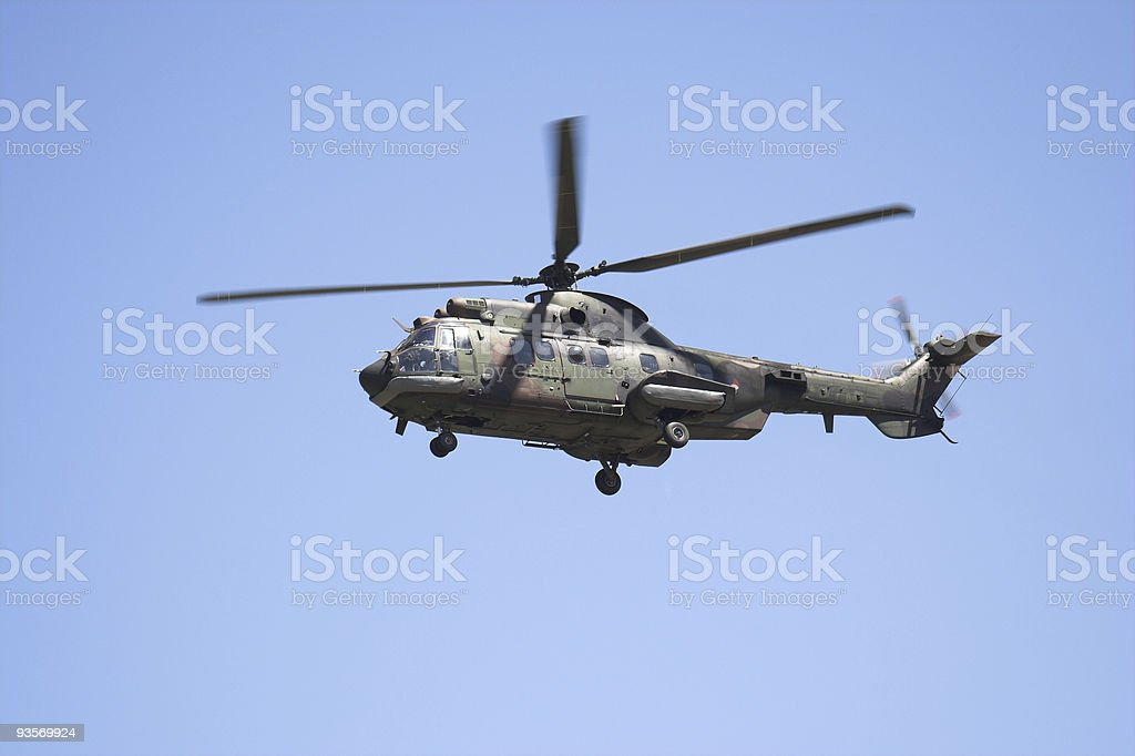 Eurocopter Cougar in flight stock photo