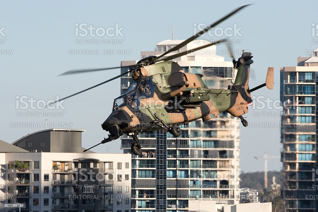 Eurocopter performs at Brisbane Riverfire Festival. stock photo