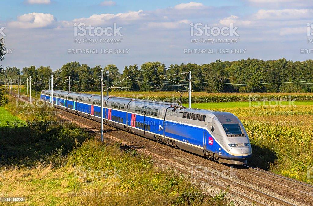 SNCF TGV Euroduplex train in Strasbourg stock photo