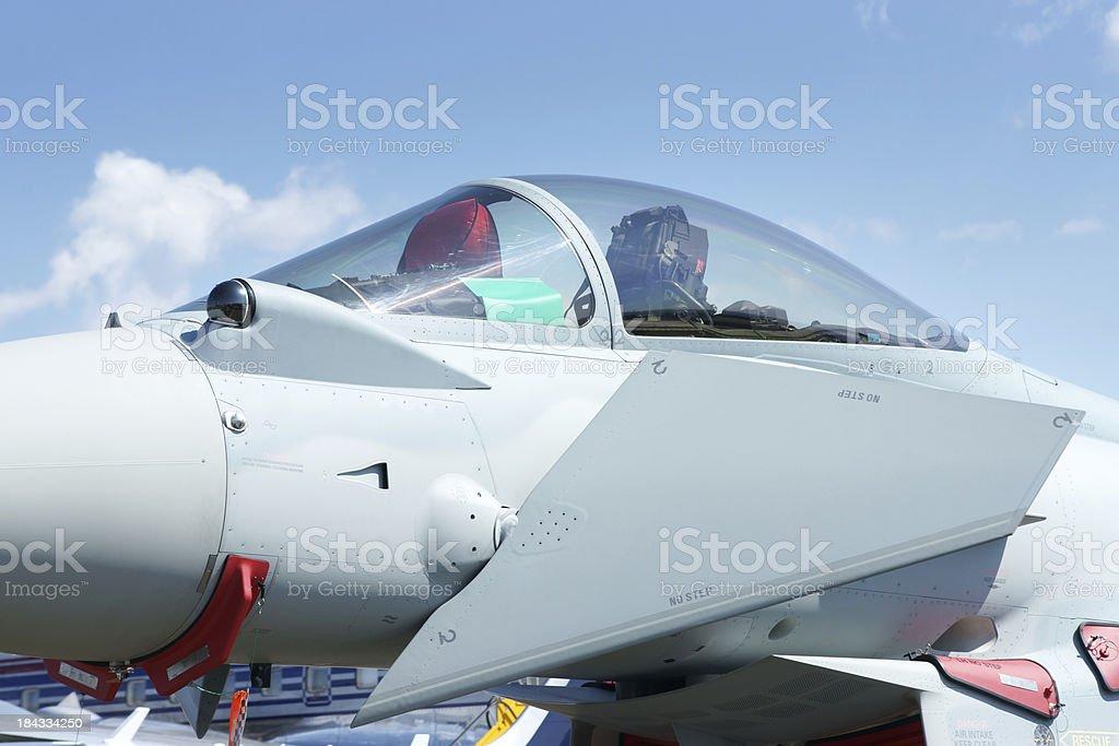 Eurofighter Typhoon fighter plane cockpit closeup stock photo