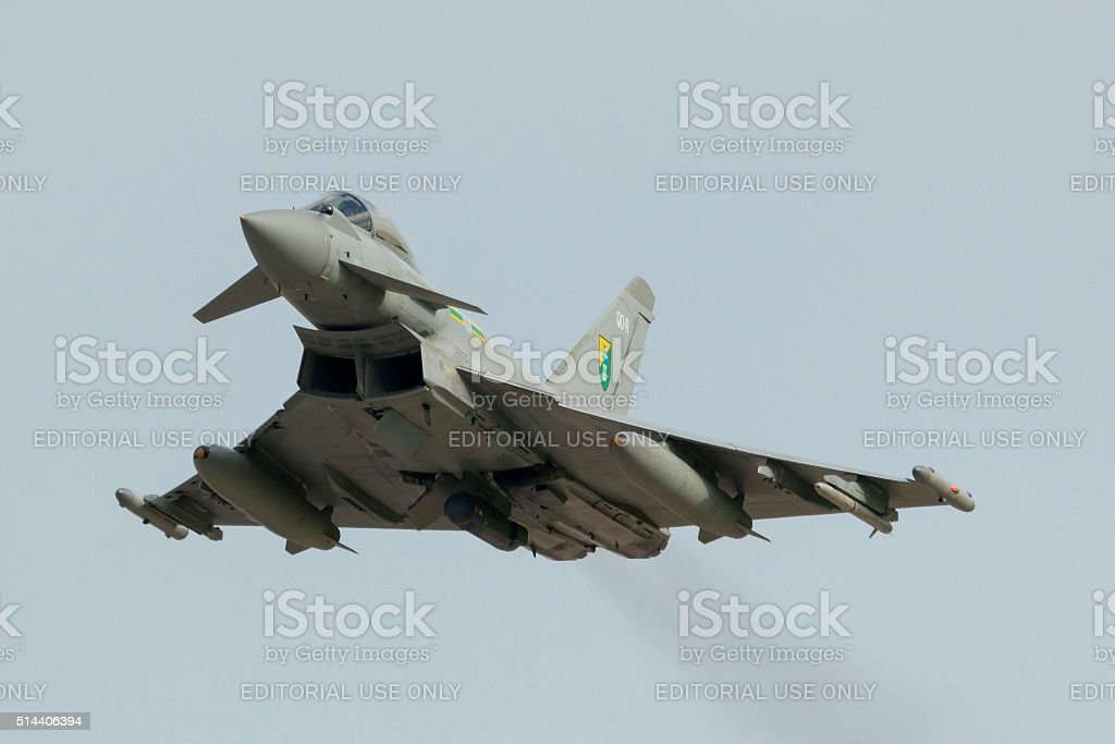 Eurofighter Typhoon on take off from runway 31 stock photo