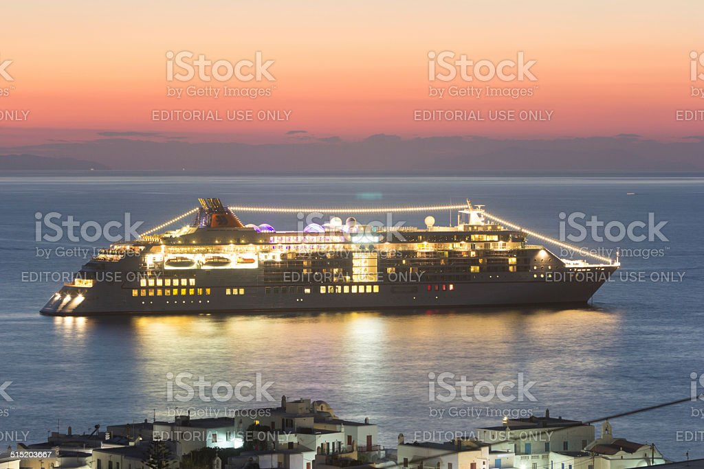 MS Europa 2 in Mykonos, Greece stock photo