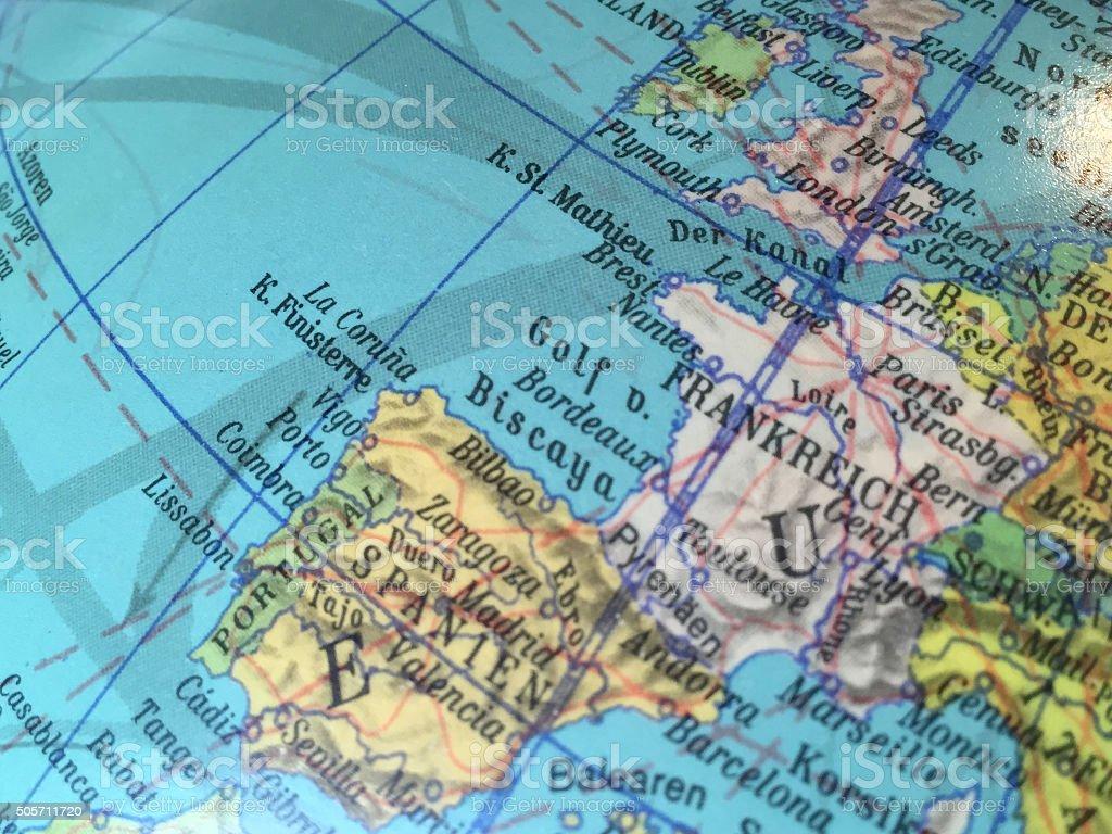 Europa Karte - Alter Globus / Weltkarte stock photo
