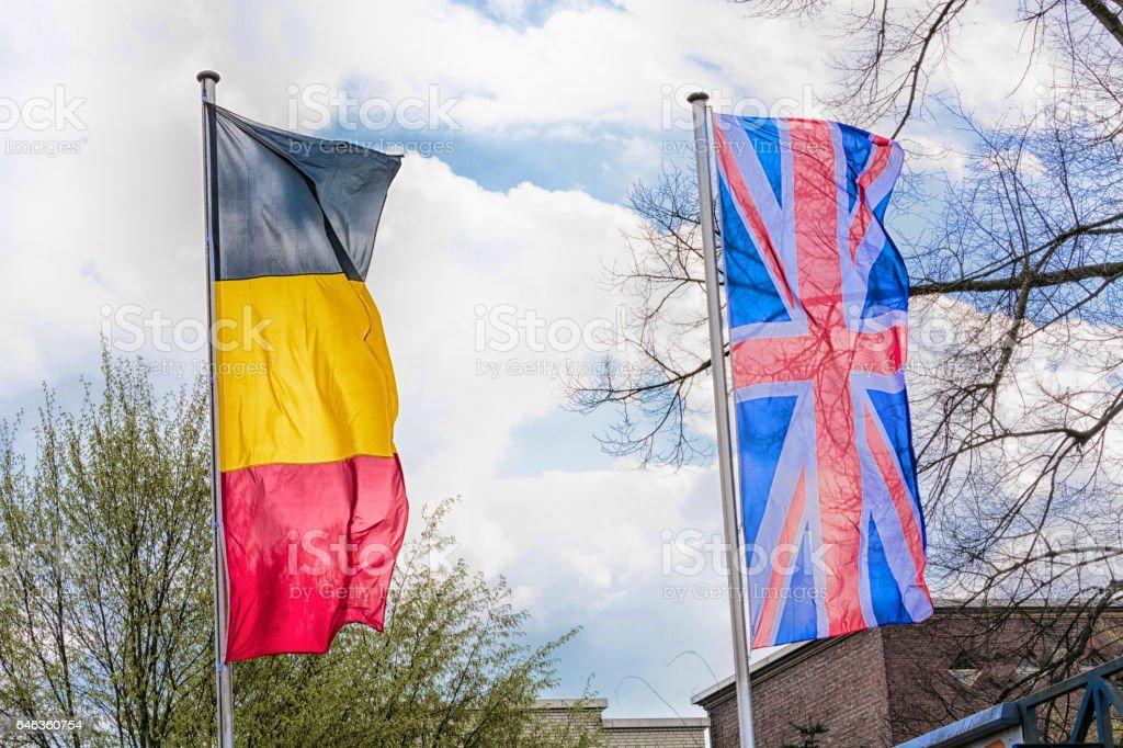 Europa Landesfahnen vor einem blauem Himmel stock photo