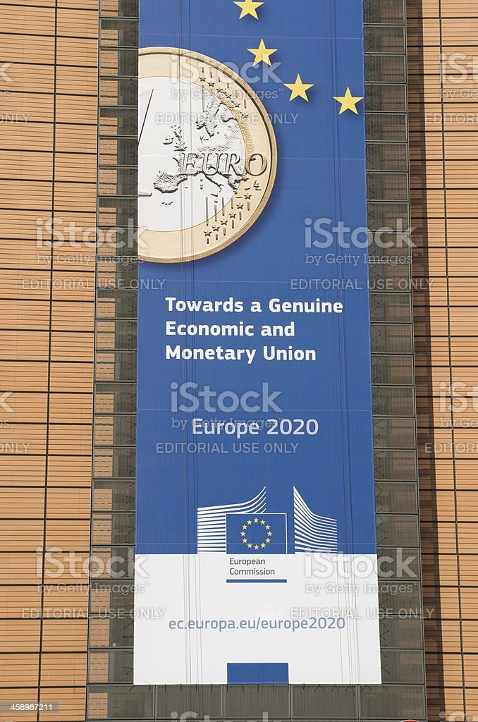 Europe 2020 banner on Berlaymont building in Brussels royalty-free stock photo