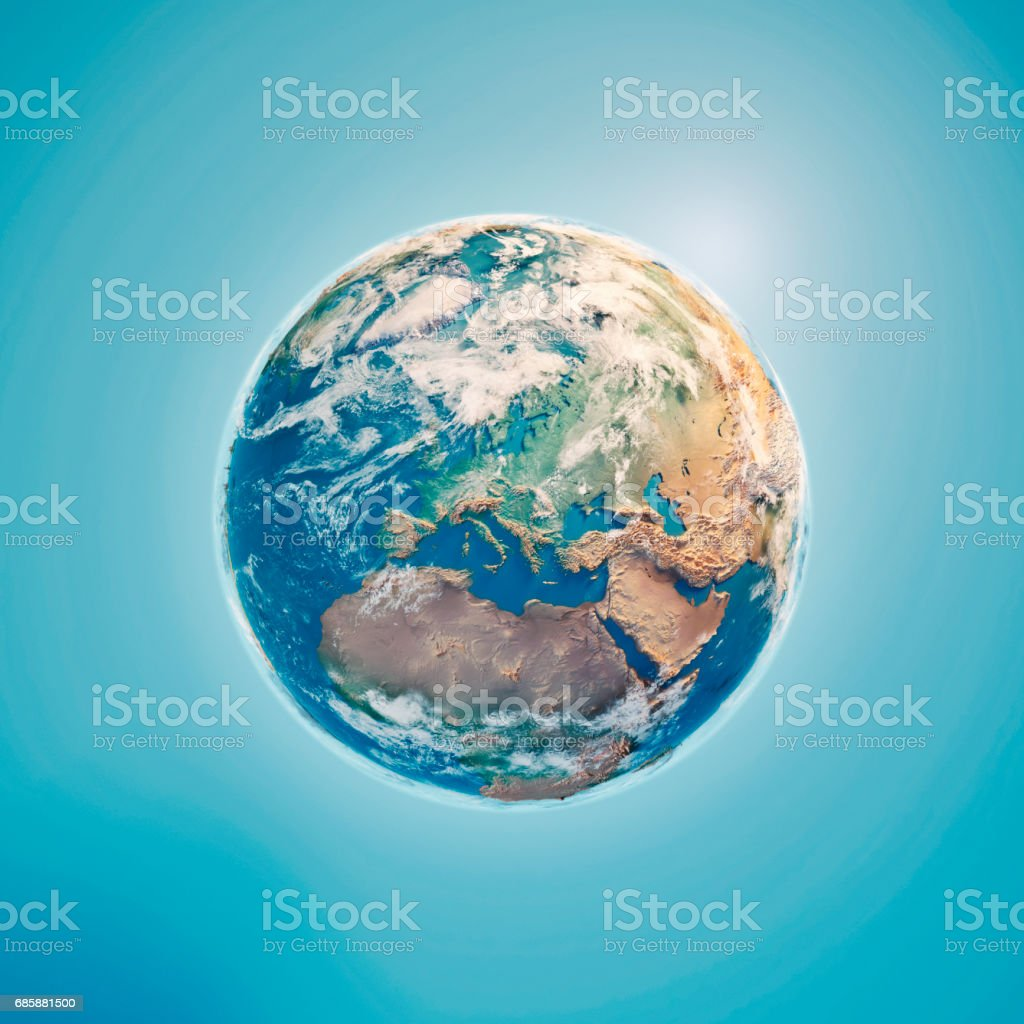 Europe 3D Render Planet Earth Clouds stock photo