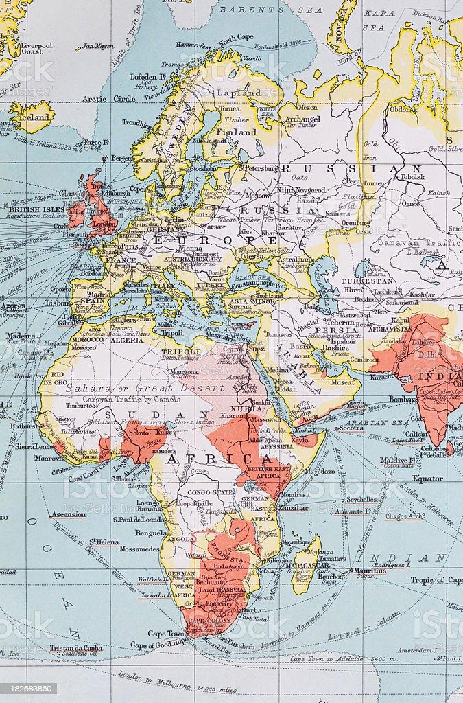 Europe, Africa, Russia & Arabia Map stock photo