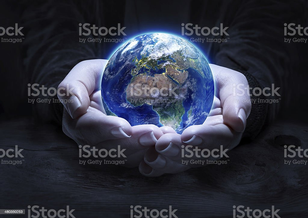 Europe and Africa in hands  - Elements furnished by NASA stock photo