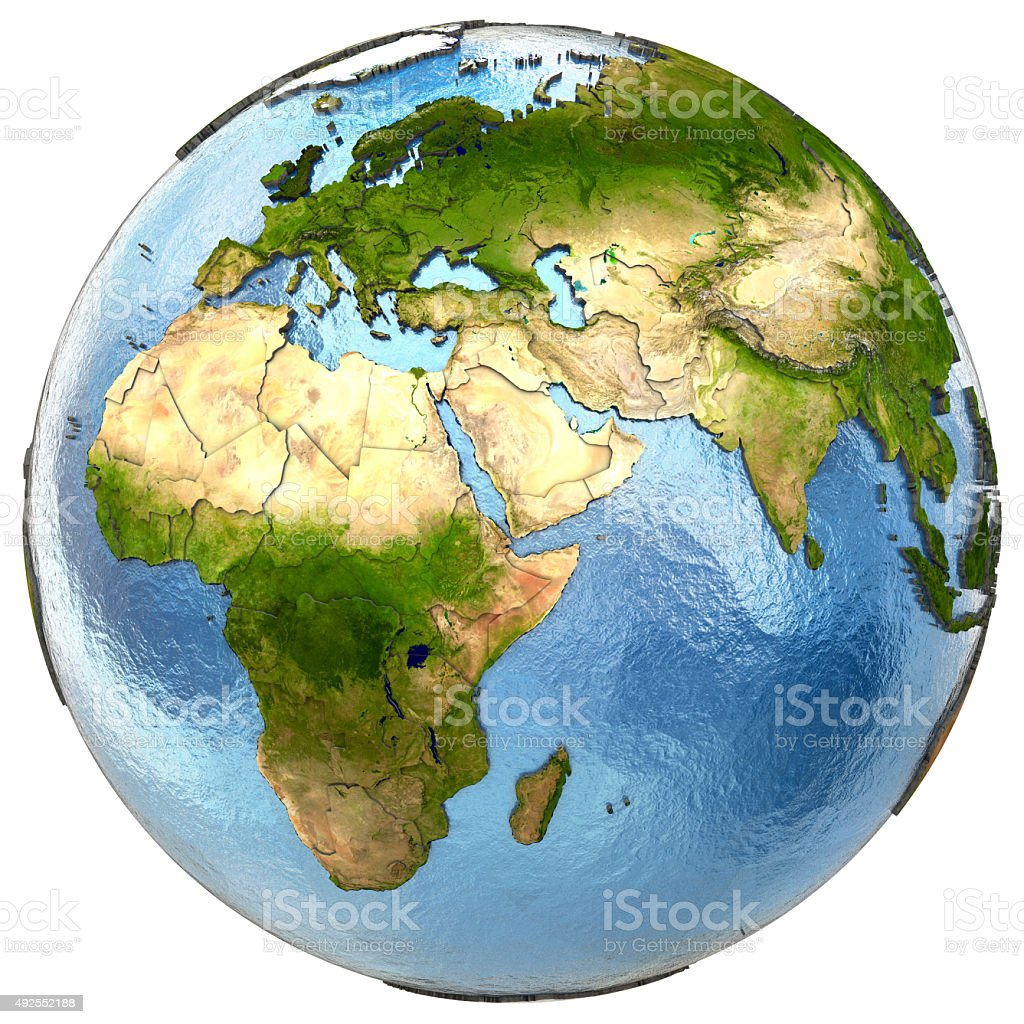 Europe and Africa on Earth stock photo
