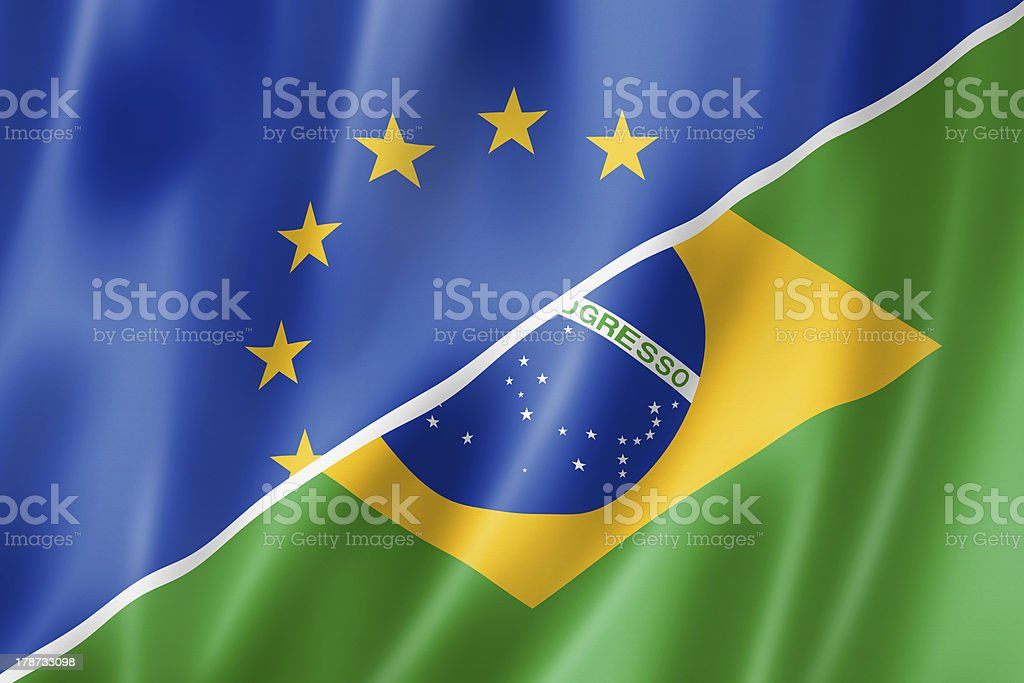 Europe and Brazil flag royalty-free stock photo