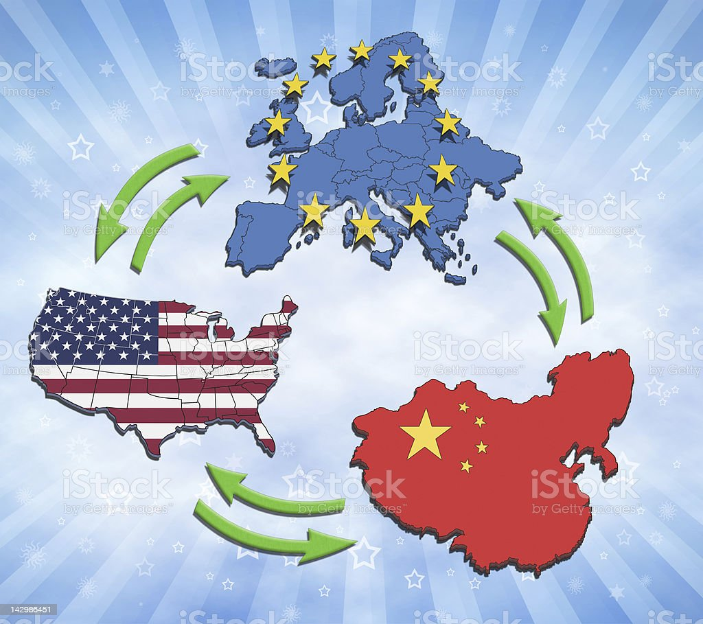 USA, Europe and China Interaction. stock photo