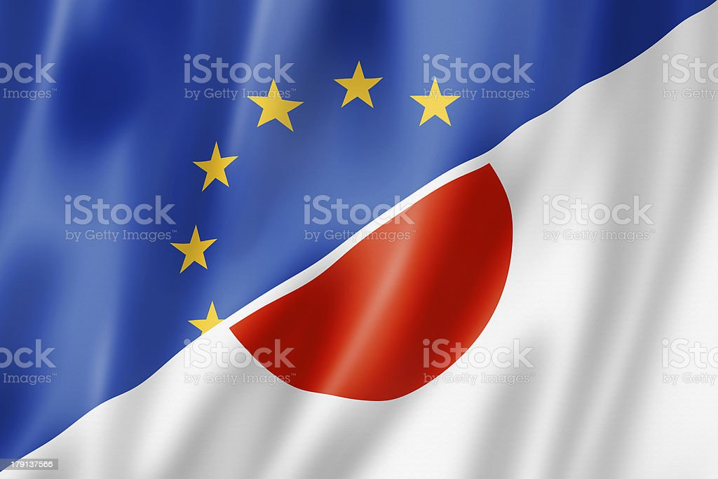 Europe and Japan flag royalty-free stock photo