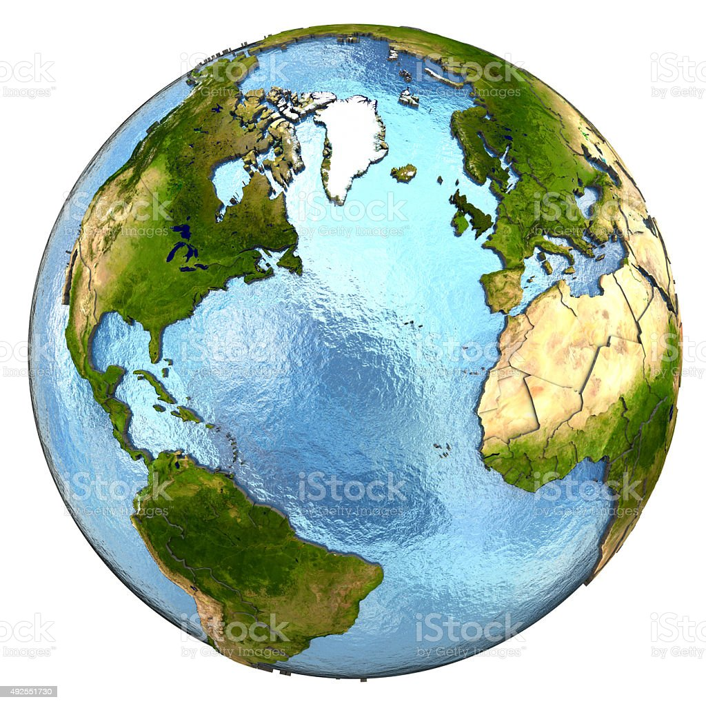 Europe and north America on Earth stock photo