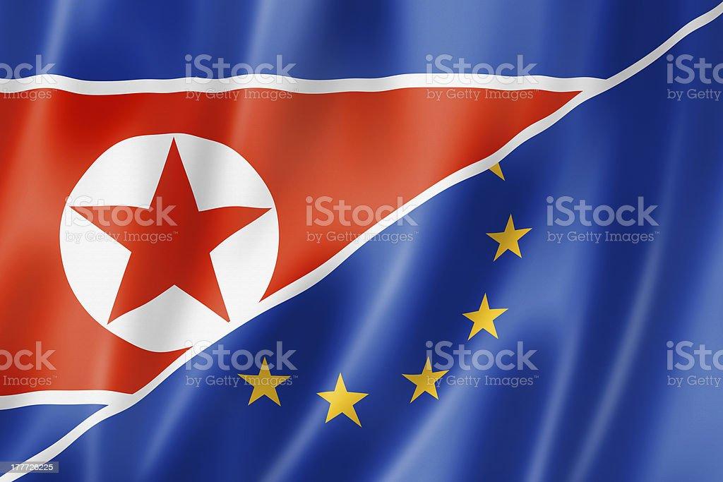 Europe and North Korea flag royalty-free stock photo