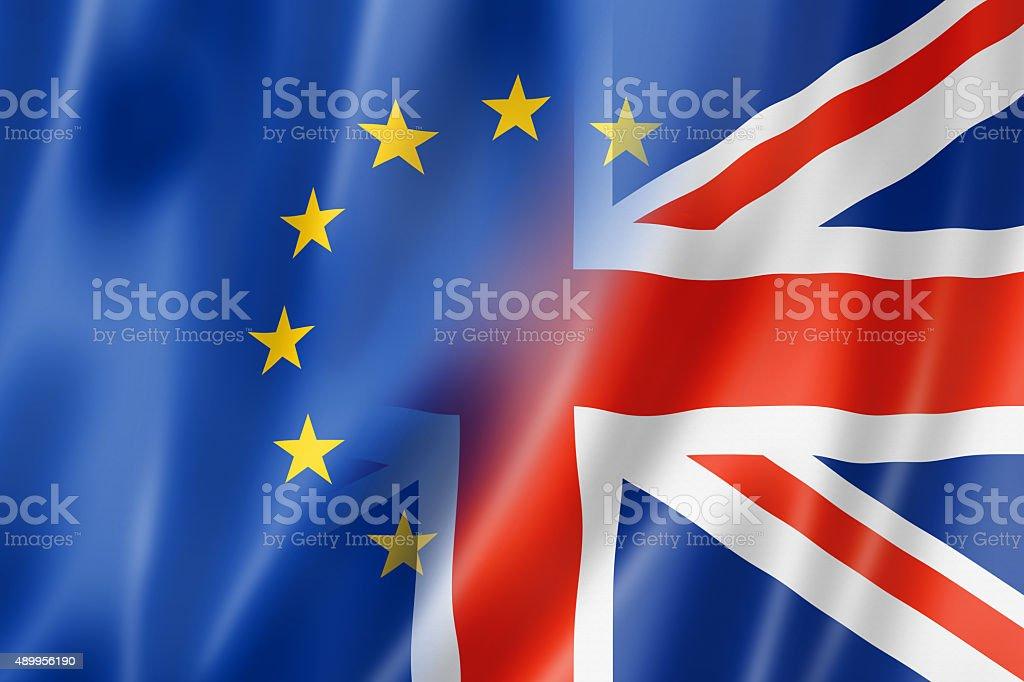 Europe and UK flag stock photo