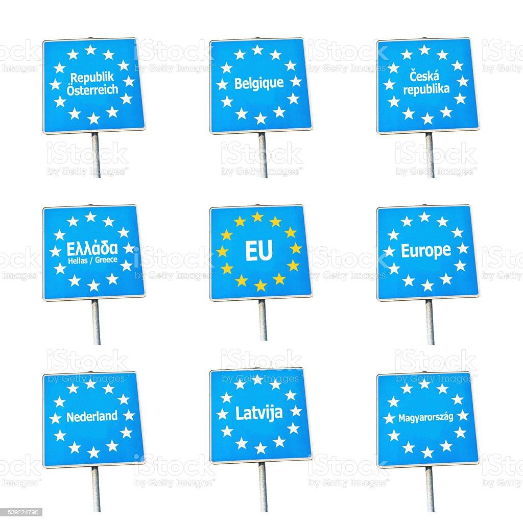 EU / Europe border signs stock photo