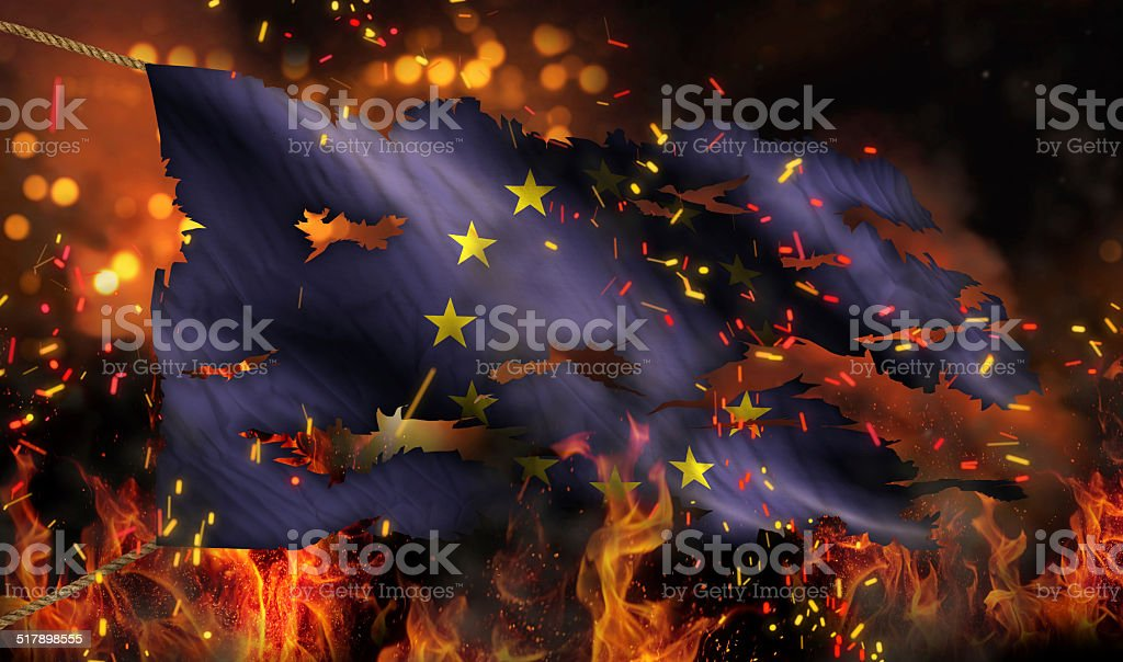 Europe Burning Fire Flag War Conflict Night 3D stock photo