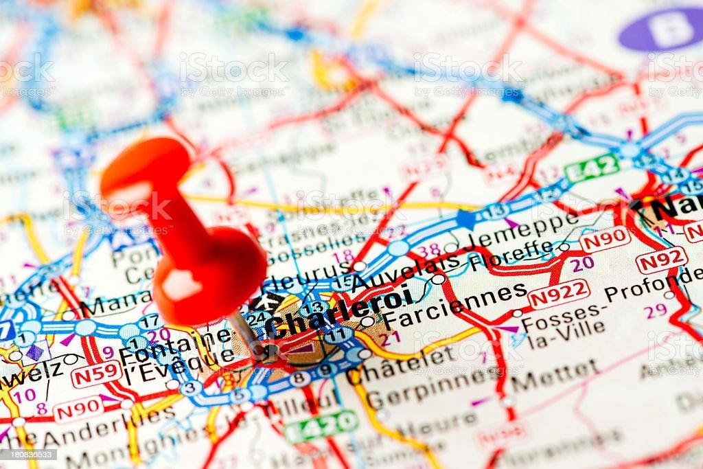 Europe cities on map series: Charleroi stock photo