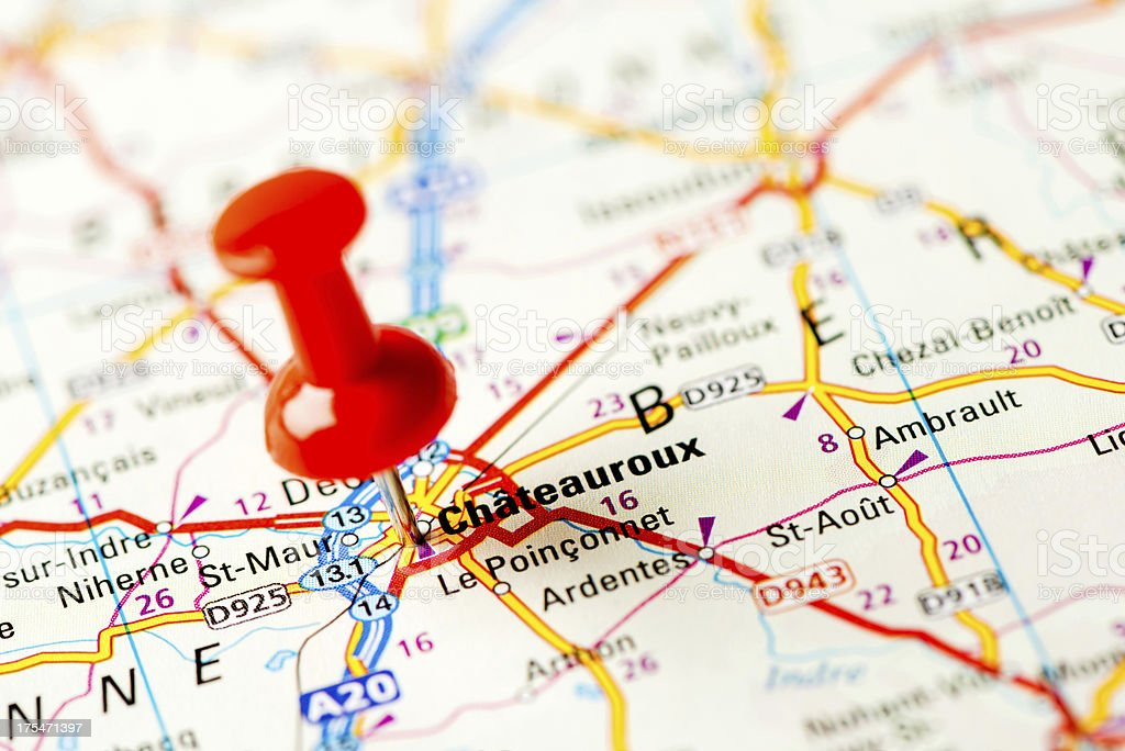 Europe cities on map series: Chateauroux royalty-free stock photo