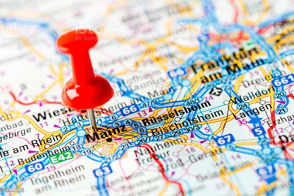 Europe cities on map series: Mainz royalty-free stock photo