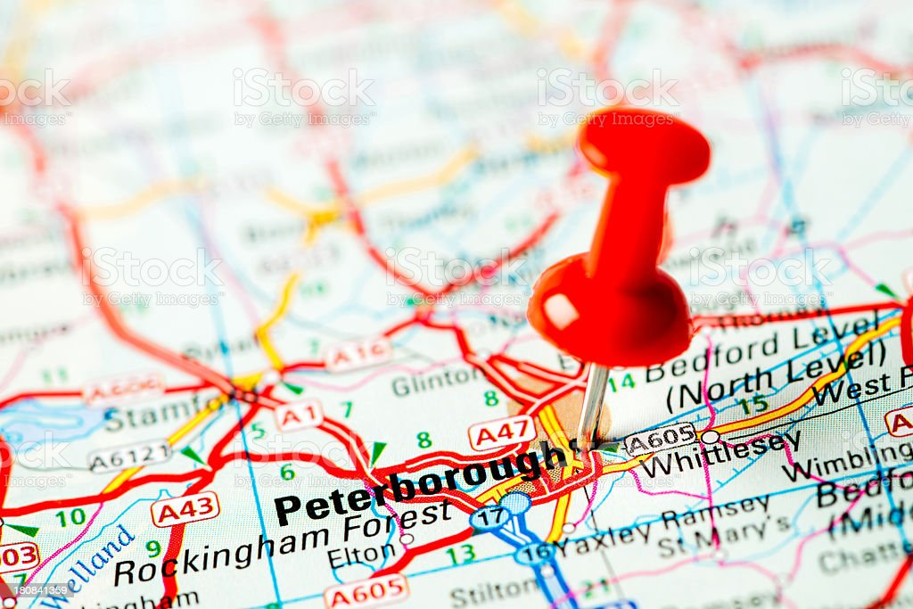 Europe cities on map series: Peterborough stock photo