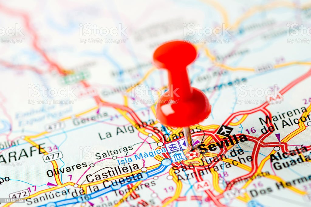 Europe cities on map series: Sevilla royalty-free stock photo