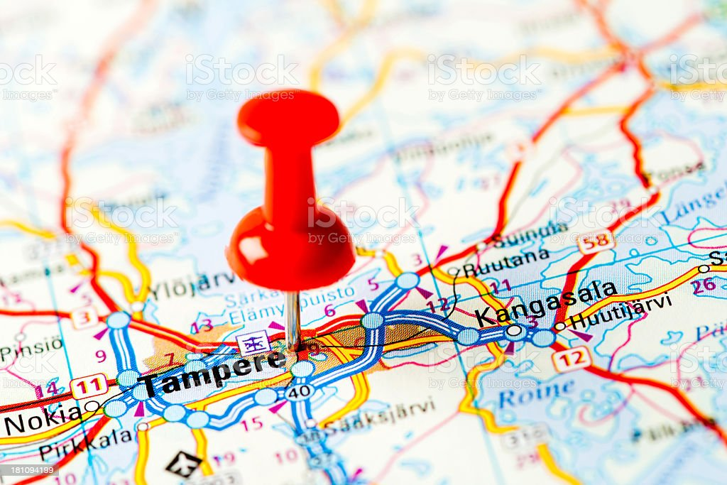 Europe cities on map series: Tampere royalty-free stock photo